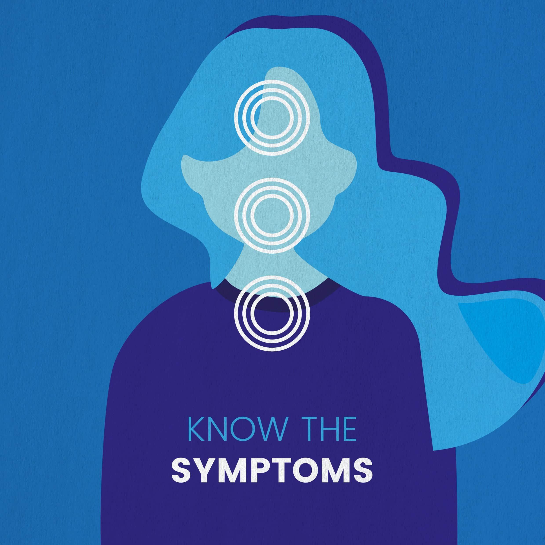 Illustration d'une femme et symptômes des céphalées de tension